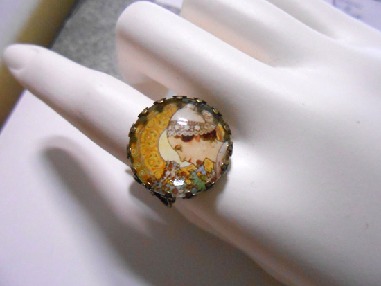 アルフォンス・ミュシャ「砂浜のアザミ」リング指輪