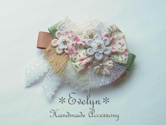 【再販】2way!バレッタ&ブローチ:コラージュ:ピンクの小花