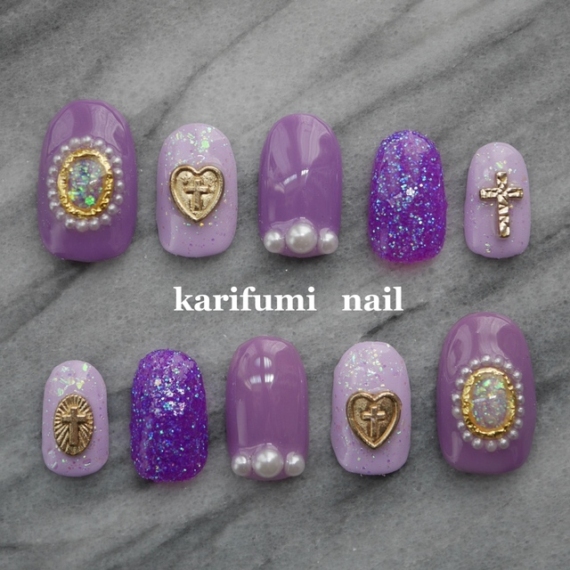 [標準サイズ]紫デザインネイル♡ネイルチップ♡