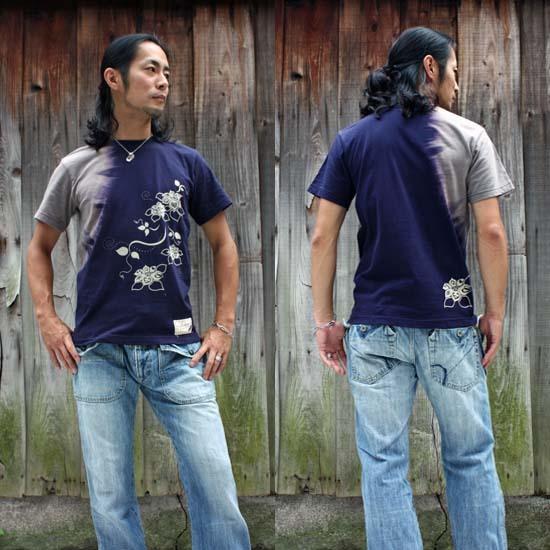 【JIKUU】 メンズ抜染Tシャツ『花』