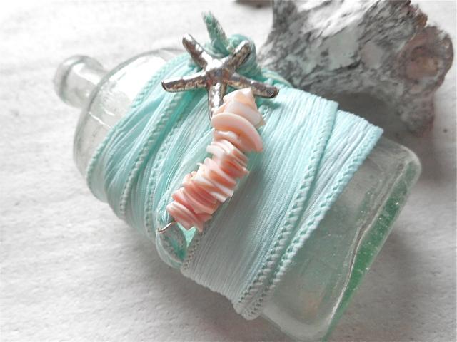 スターフィッシュとシーグラス色のシルクリボンブレス (Sea Glass) Silver