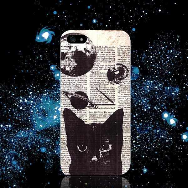 ◆宇宙ネコプリントケース◆アンティーク調:iPhone7★iPhone Android各種選択可能♪iPhoneケース スマホケース
