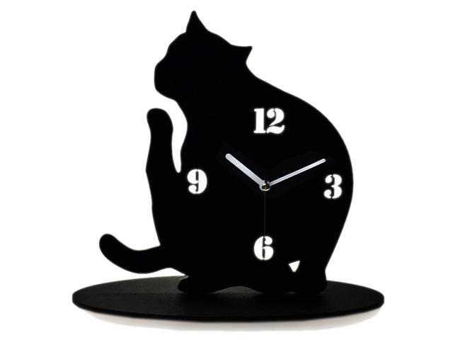 【送料¥250】 黒猫(クロネコ)の時計【首がかゆいのかな‥?】