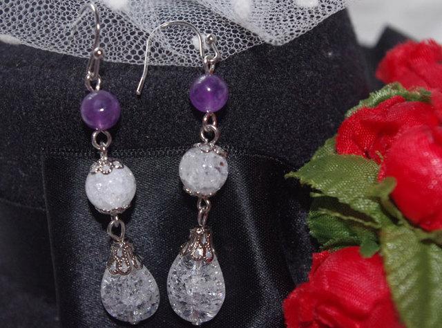 紫水晶とクラック水晶のロングピアス