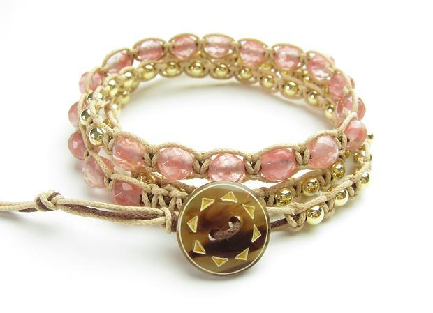 wrap bracelet (brown sun, watermelon quarts)