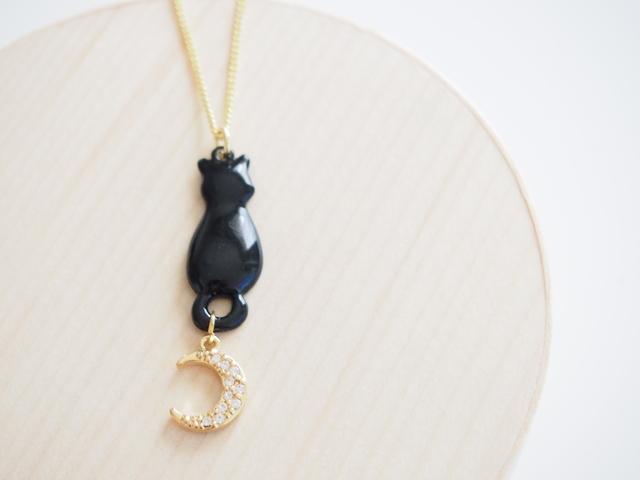 黒猫とつきのシルエット ペンダント ネックレス