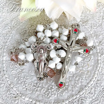 スワロフスキー 小さなバラのロザリオ(白) Rosary with Swarovski Crystal Beads  – Vintage  Rose & White