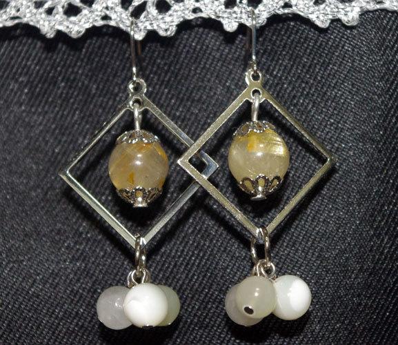 金針水晶のピアス