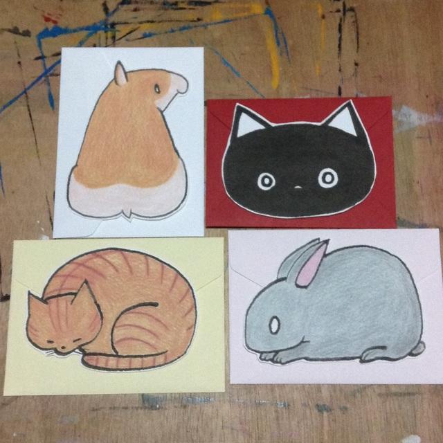 小さい動物メッセージカード