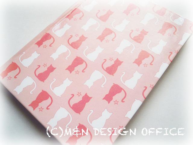 猫のシルエット柄ノート(ピンク)