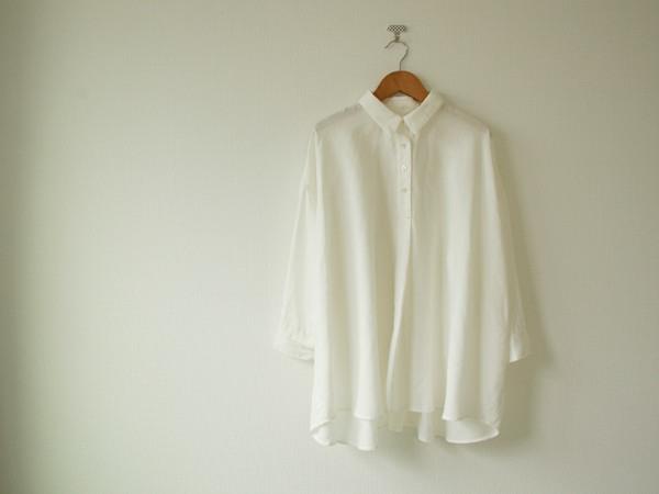 ホワイトリネン ドロップショルダーワイドシャツ