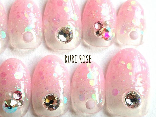 milkyピンクキラホログラデ♥ミディアムショートネイル