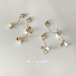 Tiny Brass Flower Earrings / 3 Petal