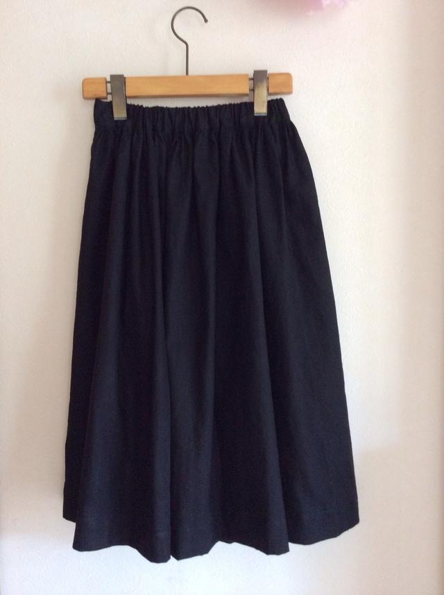 綿麻 ミモレ丈 シンプルギャザースカート for women, ラスト