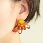"Sucre【レザーピアス】""yellow brown"""