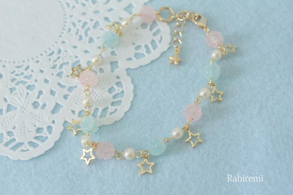 きらきら星のブレスレット(ピンク×水色)