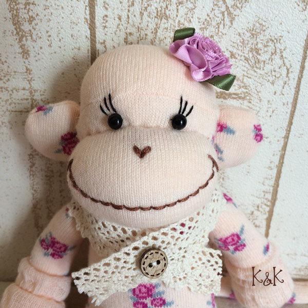 ソックモンキー(ピンクフラワー) 女の子 #101