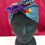 アフリカ布 パーニュ WW headband -rightblue circle-