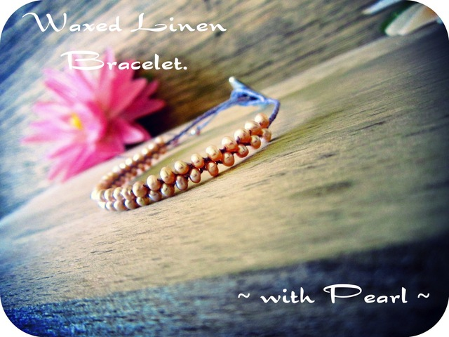 Waxed linen Bracelet with Pearl