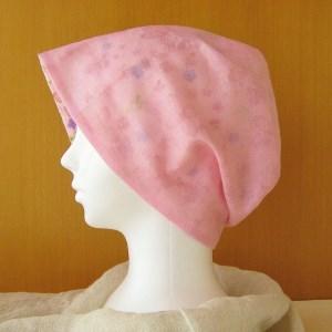 夏に涼しく下地にもなる ゆったりガーゼ帽子 ピンク/インド綿花柄(CGR-005-P)