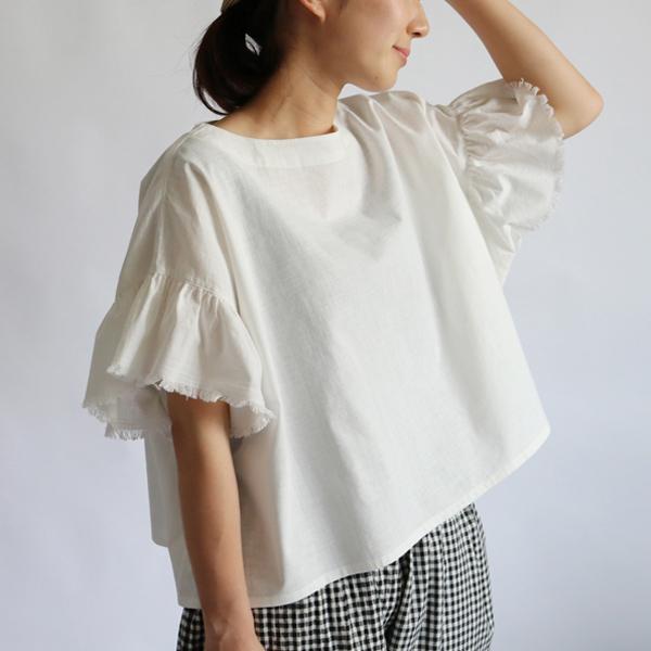 a460691ffd984   6 10まで 夏支度セール リネン麻コットン生地でつくる 切りっぱなしデザイン ブラウスゆったり身幅 半袖 白 F02