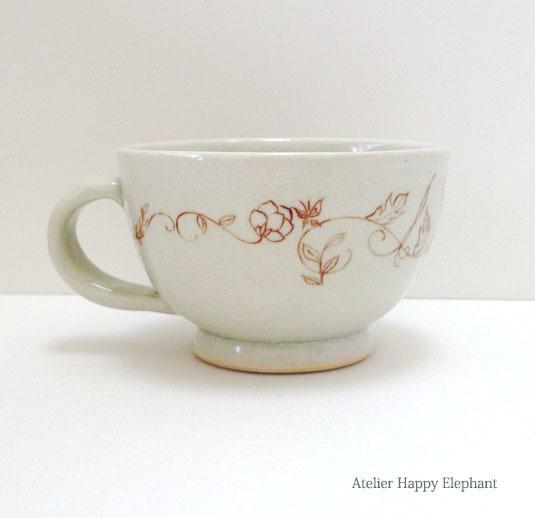 植物模様のマグカップ 水色x茶