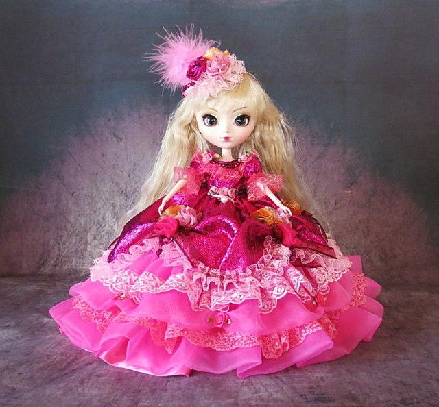 e7874cf6c5868 sold☆GW-Sale!ドール服 花の妖精 ボリューム フリルドレス フューシャ ...