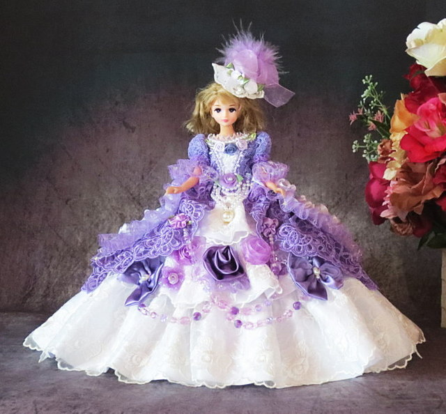 73316cdf4c5ff sold☆GW-Sale!ドール服 オーバー トレーン ドレス 着せ替え 紫陽花の ...