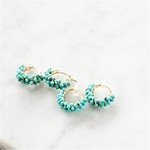 14kgf*Natural Turquoise pave pierced earring / earring