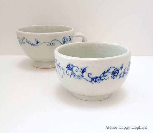 植物模様の小鉢 水色x青