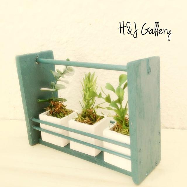 ☆小さな小さなちーさな植木鉢カントリーグリーンBOX入り*フェイク白角