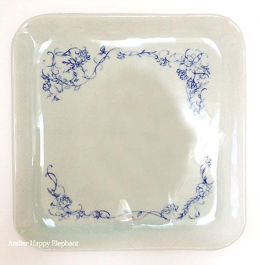植物模様のお皿 B 水色×青