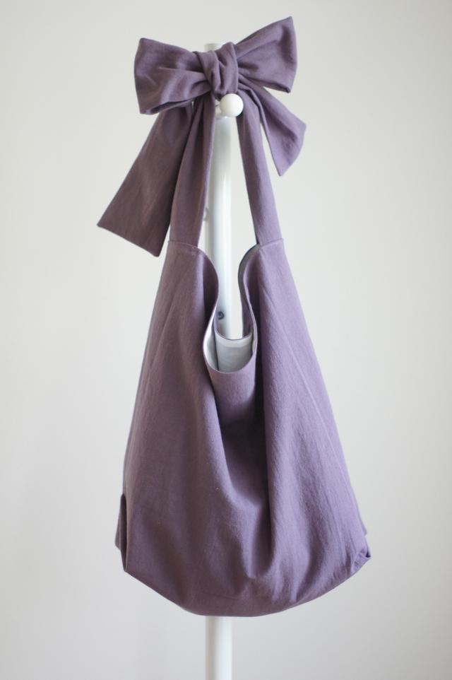 綿麻リボンのバッグ(スモーキーパープル)