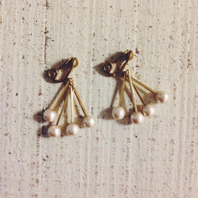 コットンパールとbrass barのイヤリング