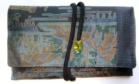 着物リメイク 色大島と藍大島で作った和風財布 286
