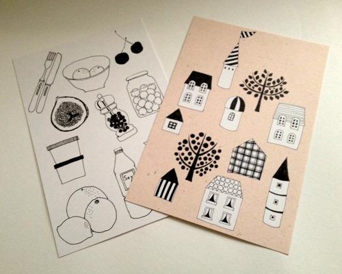 ポストカード2枚セット(house,food)