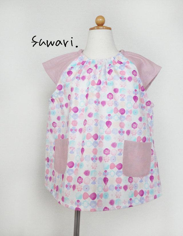 03d3ccc490026 《受注製作》スモック☆ 半袖 水彩タッチ フラワー×ちょうちょ ピンク 女の子