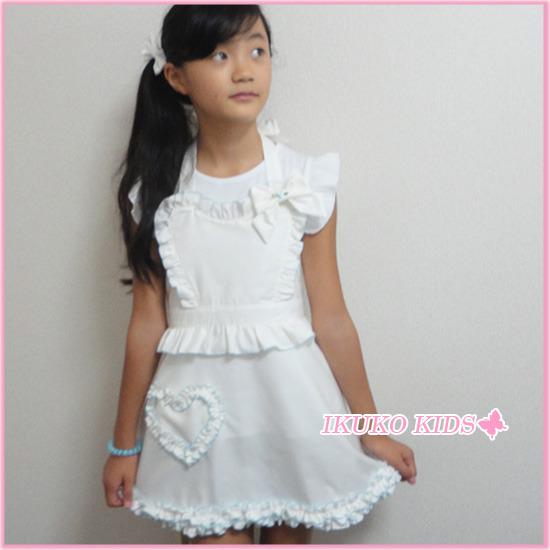 ホワイト子供エプロン【Mサイズ120~140】