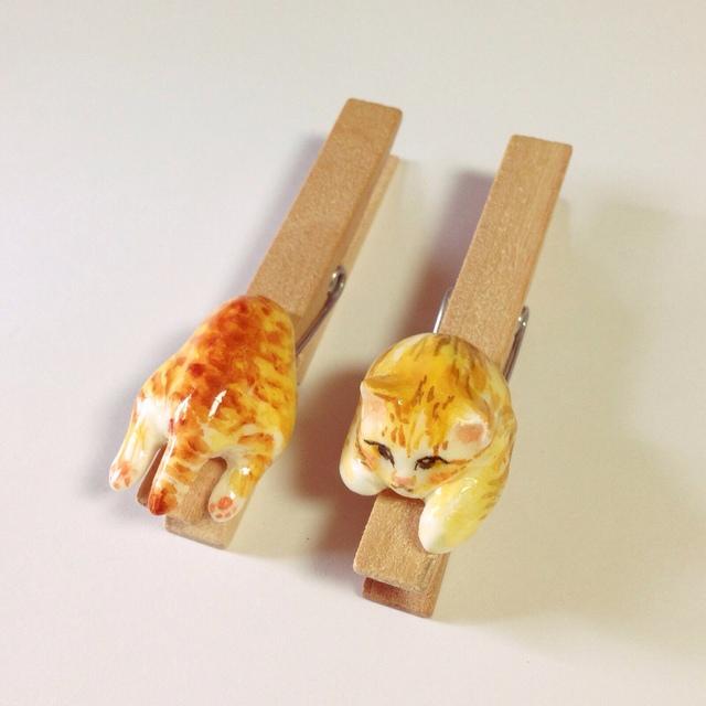 ネコちゃんミニチュアウッドクリップ(大)