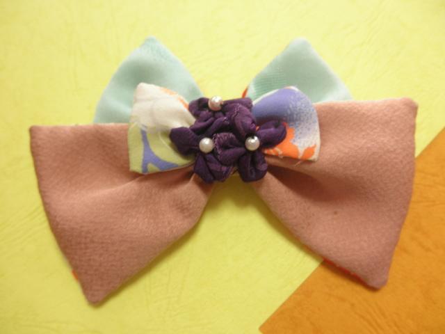 紫花飾りバレッタ「優婉」