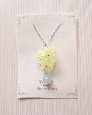 花のしずくネックレス〜ブルージェイド