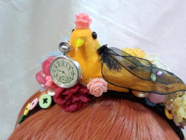 SALE!! おしゃれな小鳥と いろいろなお花とぼたんのカチューシャ