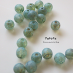 6mm ancient turquoise picasso ~sea glass~ ラウンド チェコビーズ 20個