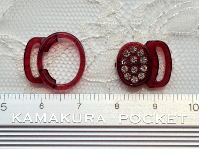 スワロ付き留め具:はめ込み式オーバル型/シャム(赤) 2セット入り<16>