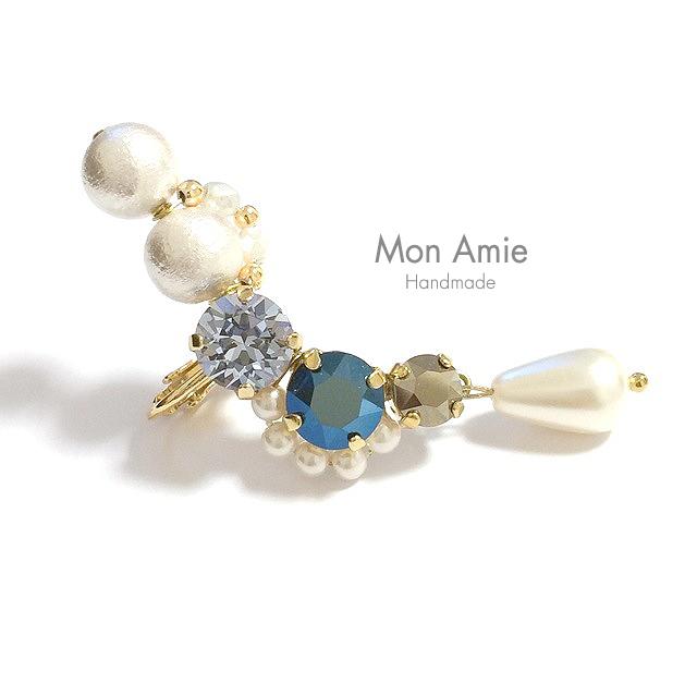【送料無料】SALE!Gorgeous Bijou Flower Earcuff ( ブルー系/右耳用)