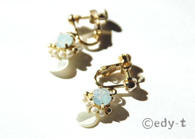 再edy-t■Wオパールシェルパールイヤリング☆送料無料