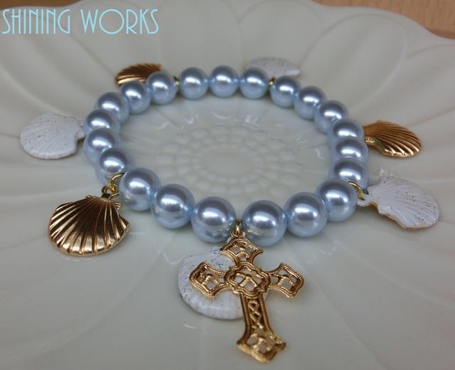 マーメイドの祈りブレスレット シェル&十字架