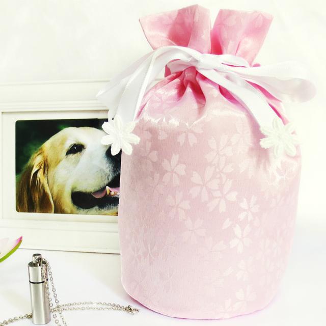 覆い袋( 骨壷袋 ) 骨壷セット 3寸(約11cm) 白並 小桜 ピンク 巾着タイプ
