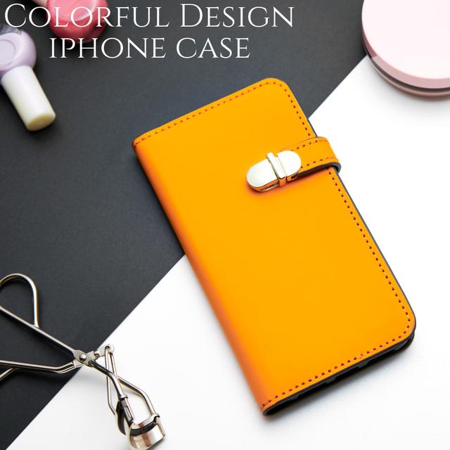 43226e9db3 手帳型 iphone ケース iphoneXs iphoneXR iphone8 iphone7 iphone8plus スマホケース ミラー付き 大人 可愛い シンプル かわいい オレンジ