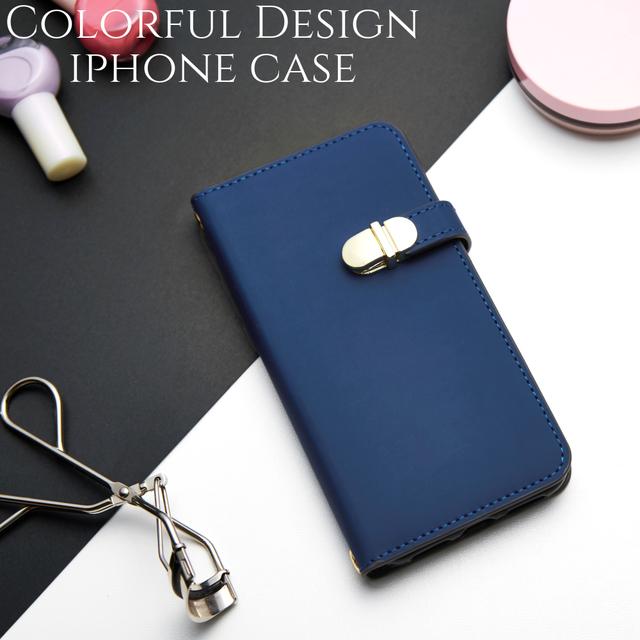 41af219d72 手帳型 iphone ケース iphone8 iphoneXs iphone7 iphone6s iphone8plus スマホケース ミラー付き 大人 可愛い シンプル かわいい ネイビー